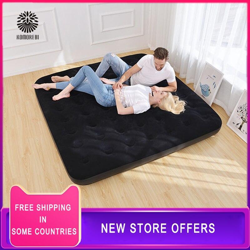 Cómoda cama inflable plegable de 203x152CM de uso individual/Individual Doble, cama de Camping, colchón inflable para el hogar, cama de aire, colchoneta para dormir