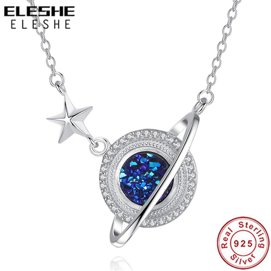 Collar de cadena de plata de ley ELESHE 925 con colgante de cristal CZ Blue Planet, collar para mujer, joyería de moda, collar para mujer