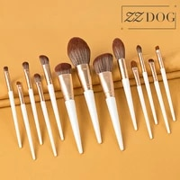 zzdog 13pcs high quality professional makeup brushes set solid wood handle powder eyeshadow contour brush kit high end cosmetic