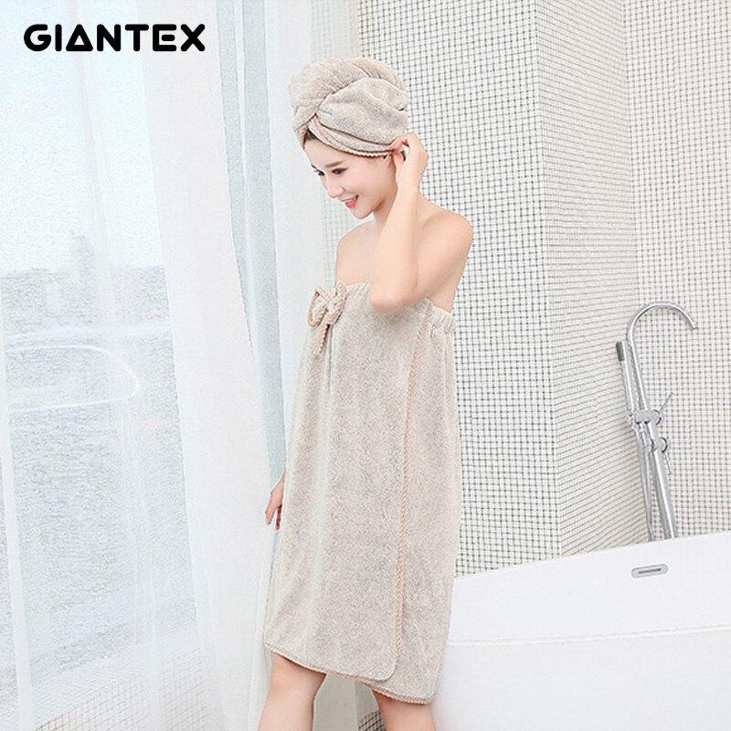 GIANTEX Women Bathroom Microfiber Bath Towels for adults Bath Robe Hair Towel Set serviette de bain toallas de ducha badhanddoek