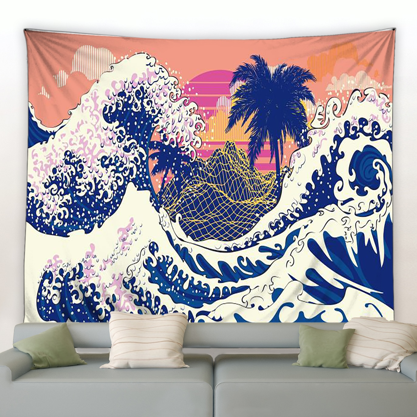 Настенный гобелен ручной работы с рисунком, одеяло для спальни, гостиной, одеяло с закатом океанских волн, японские гобелены