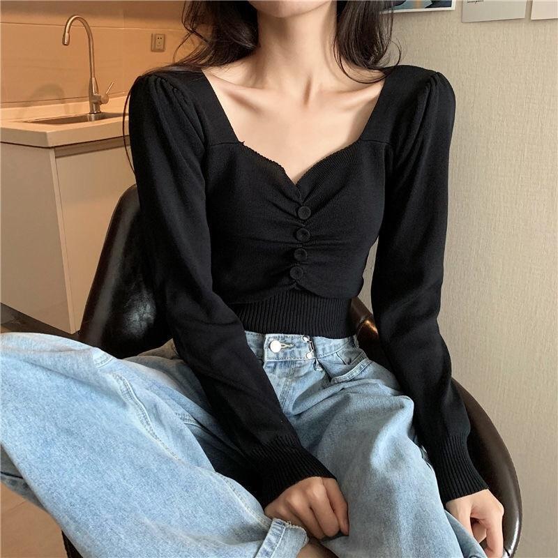 French V-neck T-shirt for women 2021 autumn new slim waist short style with long sleeve base coat
