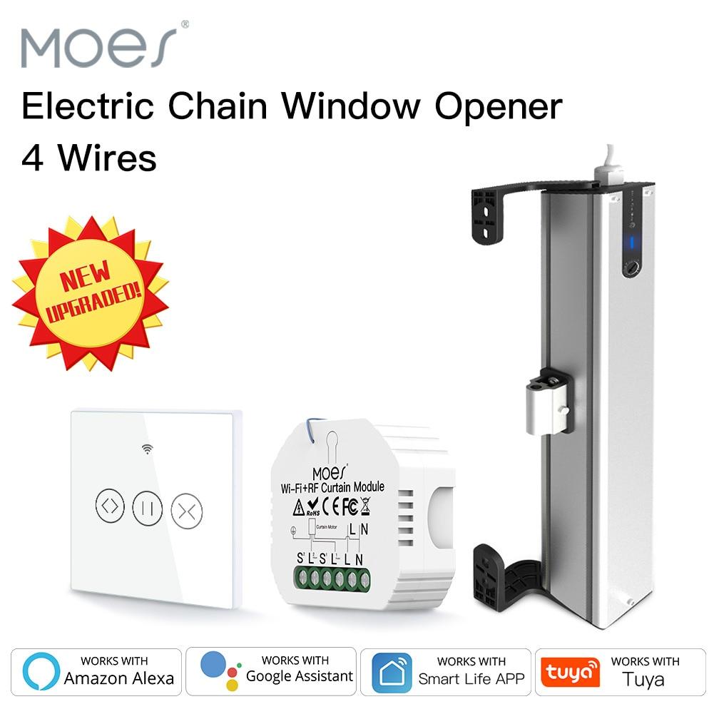 Moes جديد الكهربائية سلسلة نافذة فتاحة 4 أسلاك المحرك الفولاذ المقاوم للصدأ سلسلة نوع مع تويا واي فاي ستائر تعتيم التبديل الحائط
