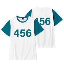 여름 오징어 게임 남자 티셔츠 3D 인쇄 패션 무브먼트 o 넥 오버 사이즈 티셔츠 캐주얼 올 매치 반소매 탑