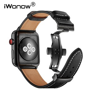 Genuine Cowhide Leather Watchband for iWatch Apple Watch SE Series 6 5 4 3 2 1 44mm 42mm 40mm 38mm Band Butterfly Buckle Strap