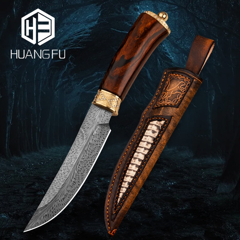Feather grain Damascus hunting knife collection knife handmade knife fixed blade outdoor knife handle plated 24K pure gold
