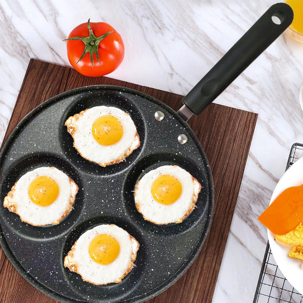 3/4 buraco frigideira engrossado omelete pan antiaderente ovo panqueca bife pan cozinhar ovo presunto panelas café da manhã fabricante