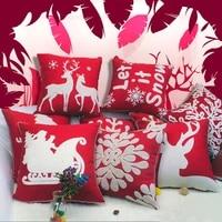 cotton christmas pillow case santa claus snowflake xmas cushion cover 45x45cm home decor throw pillows cover new year2022
