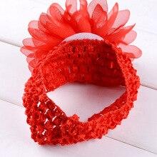Bonita diadema de flor de Gasa para niñas bebés 1 Uds con bandas anchas de ganchillo elásticas accesorios para fotografía para Niños Accesorios para el cabello