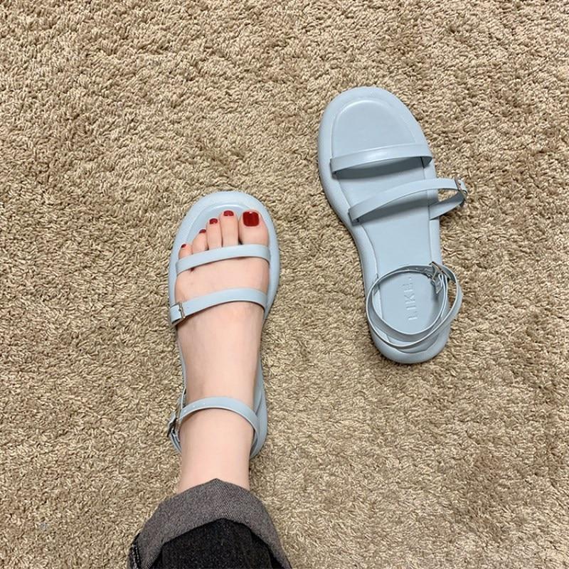 Eooodoit verão elegância doce sandálias femininas salto plano couro com cinto sandálias dedo do pé aberto férias praia sapatos de areia 5 cores