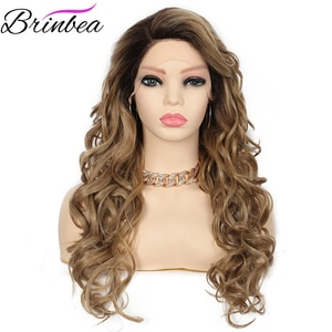 Brinbea 24 Inches Synthetic Ombre Blonde Long Big Wavy Curly Glueless Wig For White Women Japan Made Side Parted Lace Front Wigs