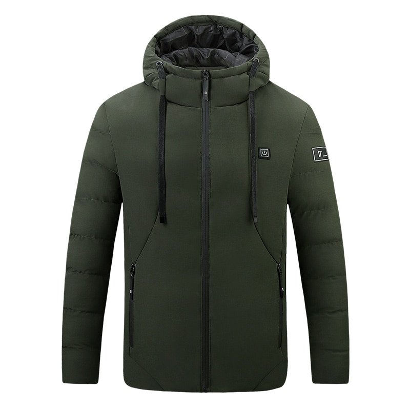 Smart Heating Cotton Clothing 4 Zone Single Control USB Electric Heating Constant Temperature Cotton Clothing Men Hooded Jacket