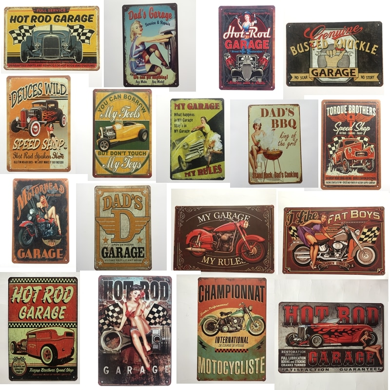 Vintage Hot Rod Garage coche papás BBQ motocicleta carteles de Metal arte de la pared pintura Poster Bar Garage café Decor