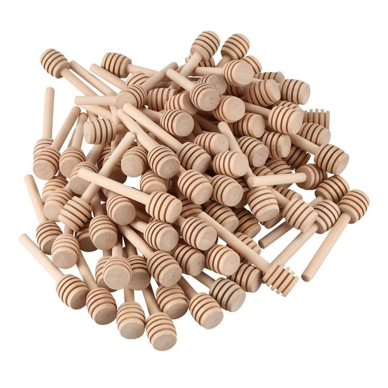 100Pcs/Set Mini 3 Inch Wood Honey Dipper Sticks Individually Wrapped For Honey Jar Dispense Drizzle Honey Wedding Party