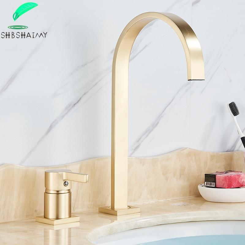 SHBSHAIMY-صنبور حوض ذهبي مصقول ، ماء ساخن وبارد ، للحمام ، بمقبض واحد