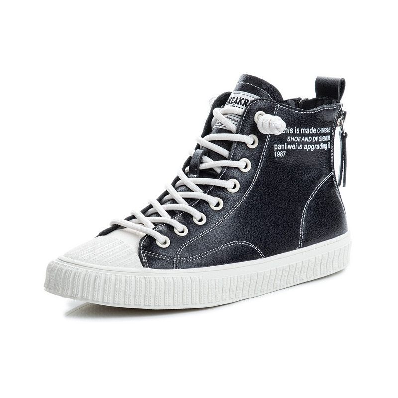 2021 Genuine Leather Black White High Top Sneakers For Women Thick Soles Casual Platform Vulcanized Shoes Ladies Female Sneakers