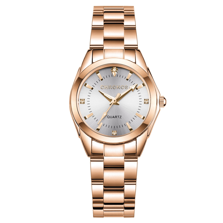 CHRONOS Watch Women Luxury Fashion Casual Quartz Watches Stainless Steel Sport Ladies Elegant Wrist Watch Girl Clock