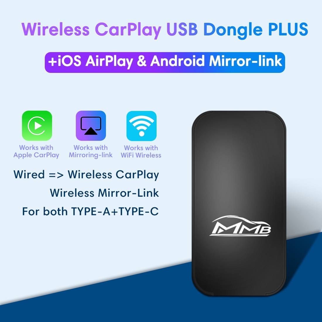 Get MMB 8G USB Carplay Dongle For Mercedes Benz With Built-in Apple Carplay Wireless Mirror Link Apple Carplay Box Plug and Play Box