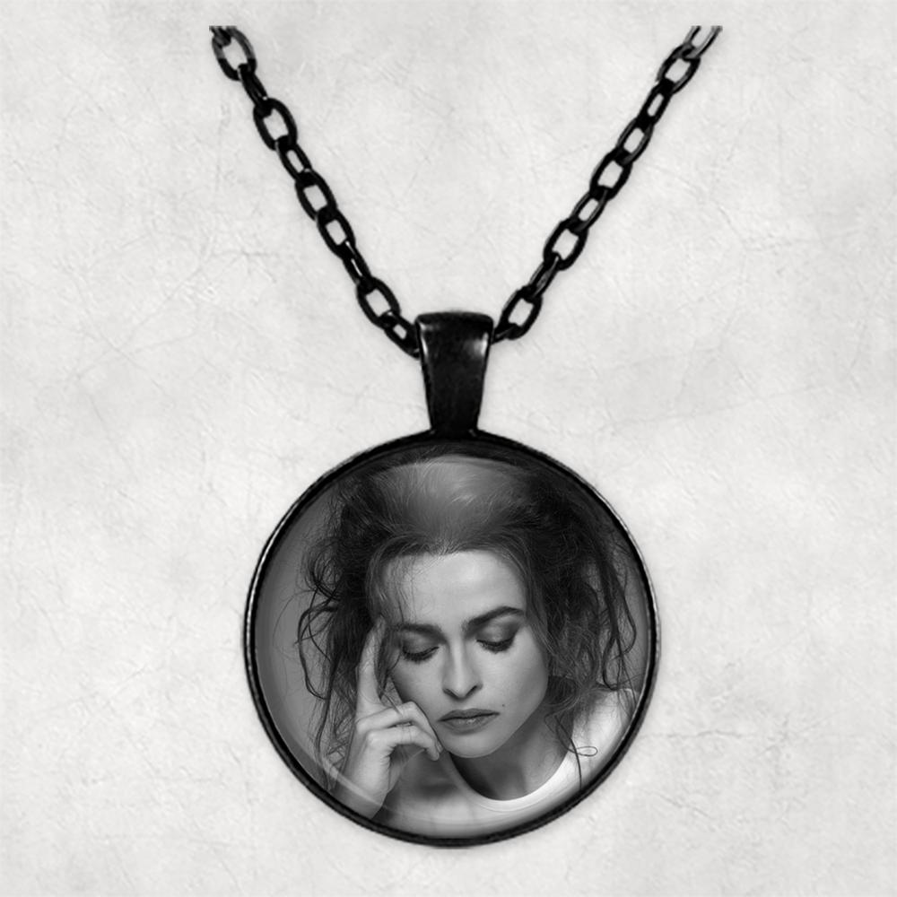 Collar de foto personalizado de Elena Bonham Carter collar de fotos collares colgantes círculo foto relicario foto regalo
