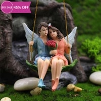 fairy miniature flower swing figurine with wings creative fairy garden supplies for yard lawn house indoor outdoor decoration
