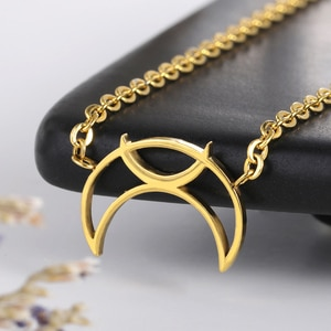 Crescent Moon Necklaces For Women Jewelry Stainless Steel Chain Rose Gold Friendship Necklaces Pendants Bridesmaid Gift bff