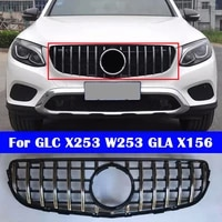 abs plastic front grille diamond gt style car modified middle grille for mercedes benz glc x253 w253 gla x156