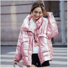 2019 brillant hiver manteau femmes vers le bas coton rembourré veste pour les femmes épais court brillant femelle chaud Parkas chaqueta feminino 335