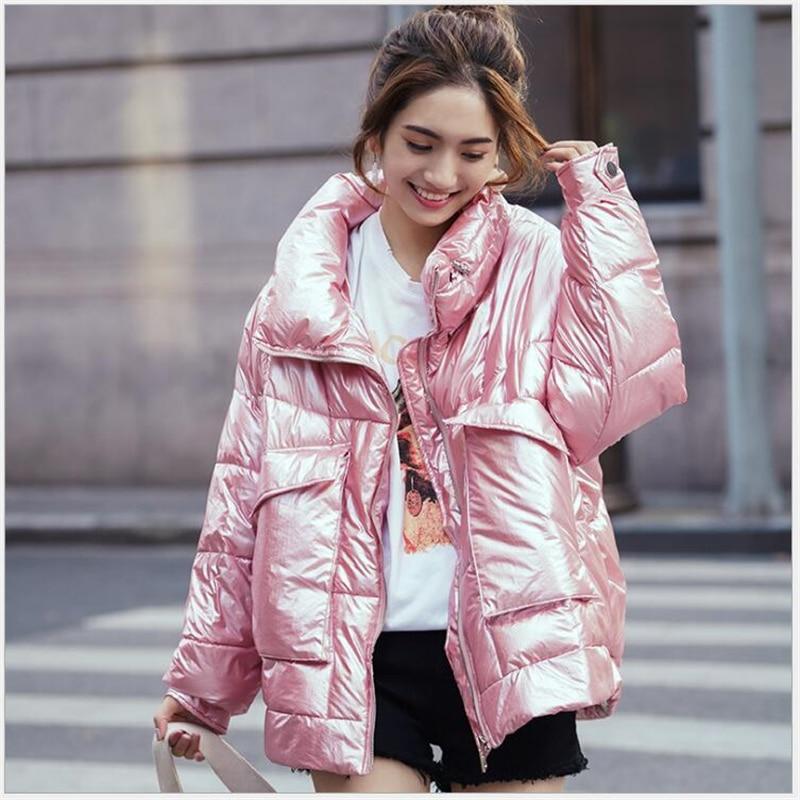 2019 abrigo de invierno brillante chaqueta acolchada de algodón para mujeres gruesas cortas brillantes Parkas calientes chaqueta femenina 335