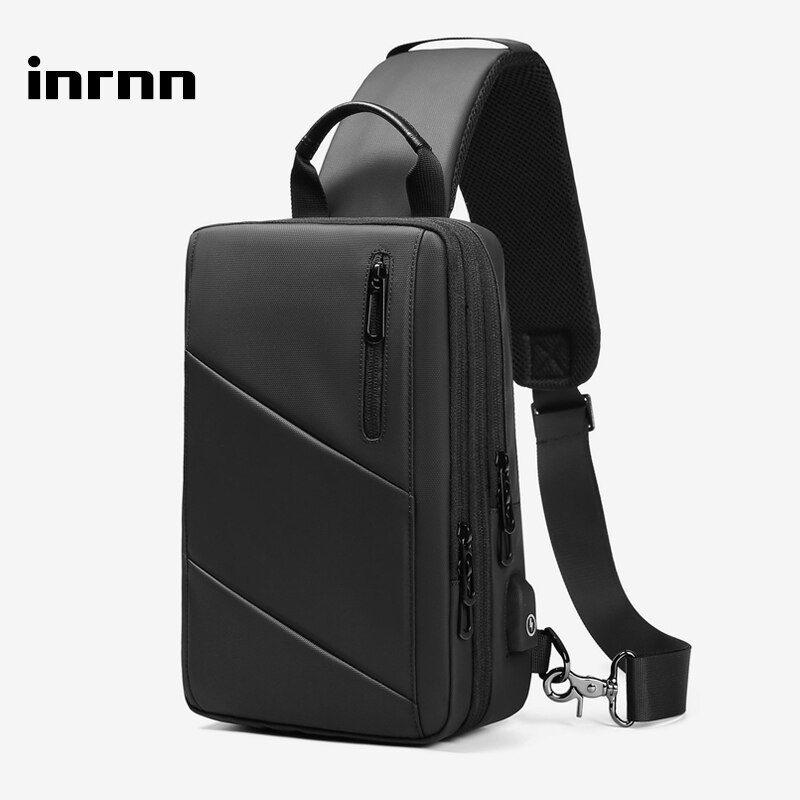inrnn Multifunction Men Chest Bag Expandable Male Shoulder Bags Waterproof Sling Messenger Bag USB Charging Casual Crossbody Bag