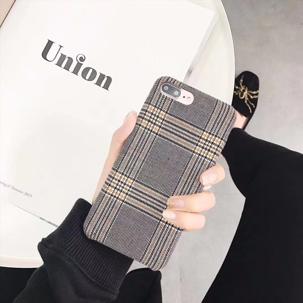 Colégio britânico estilo europeu caso capa para apple iphone 11 pro max xs max xr x 8 7 6 plus xadrez pano grade tecido listra