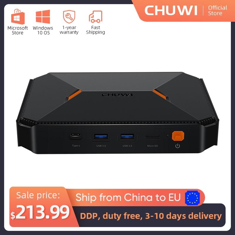 CHUWI Herobox جهاز كمبيوتر صغير إنتل الجوزاء بحيرة N4100 رباعية النواة LPDDR4 8GB 256G SSD ويندوز 10 نظام التشغيل مع منفذ HD LAN VGA
