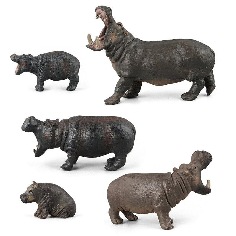 Wild Life Simulation Animal Model toy Rhino hippo animal Action Figures Figurines toys Kids Educational Collection Gift new hippo antelope bear donkey mole otter rabbit hyena chinese dragon animal model action figure educational toys for children