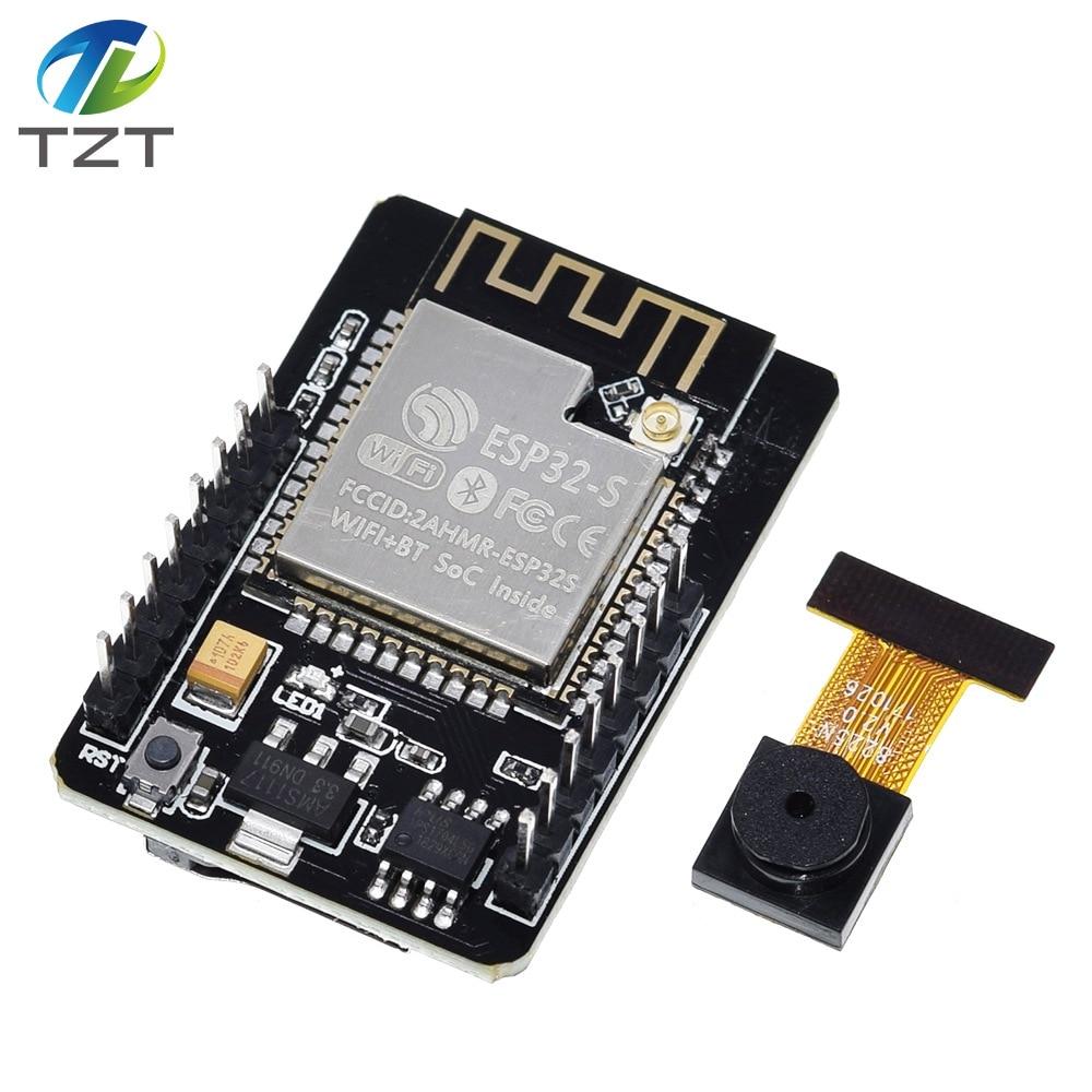 TZT ESP32-CAM WiFi + модуль Bluetooth модуль камеры макетная плата ESP32 с модулем камеры OV2640 2MP для Arduino