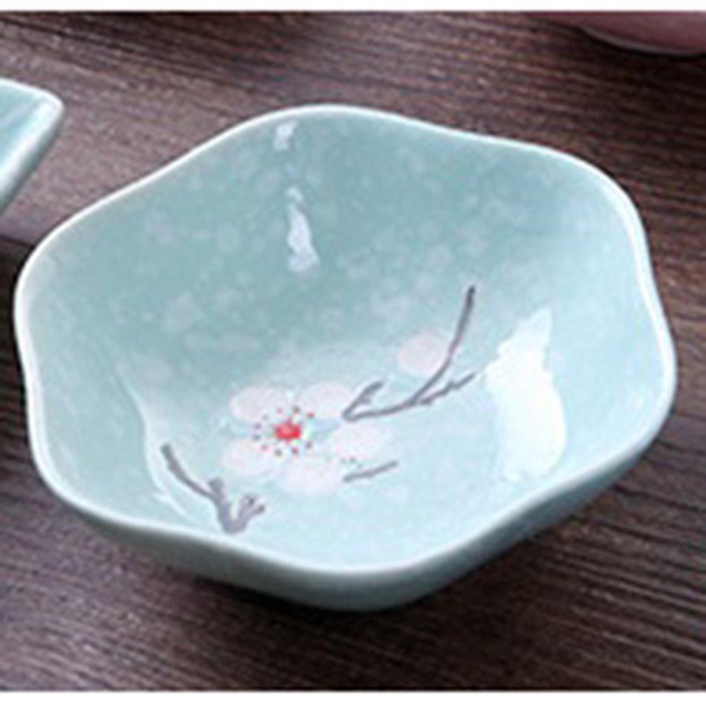 Plato de cerámica con forma de ciruela Hexagonal y esmaltado de copo de nieve en 3 colores creativos de estilo japonés, plato de cerámica para salsa, suministros de cocina