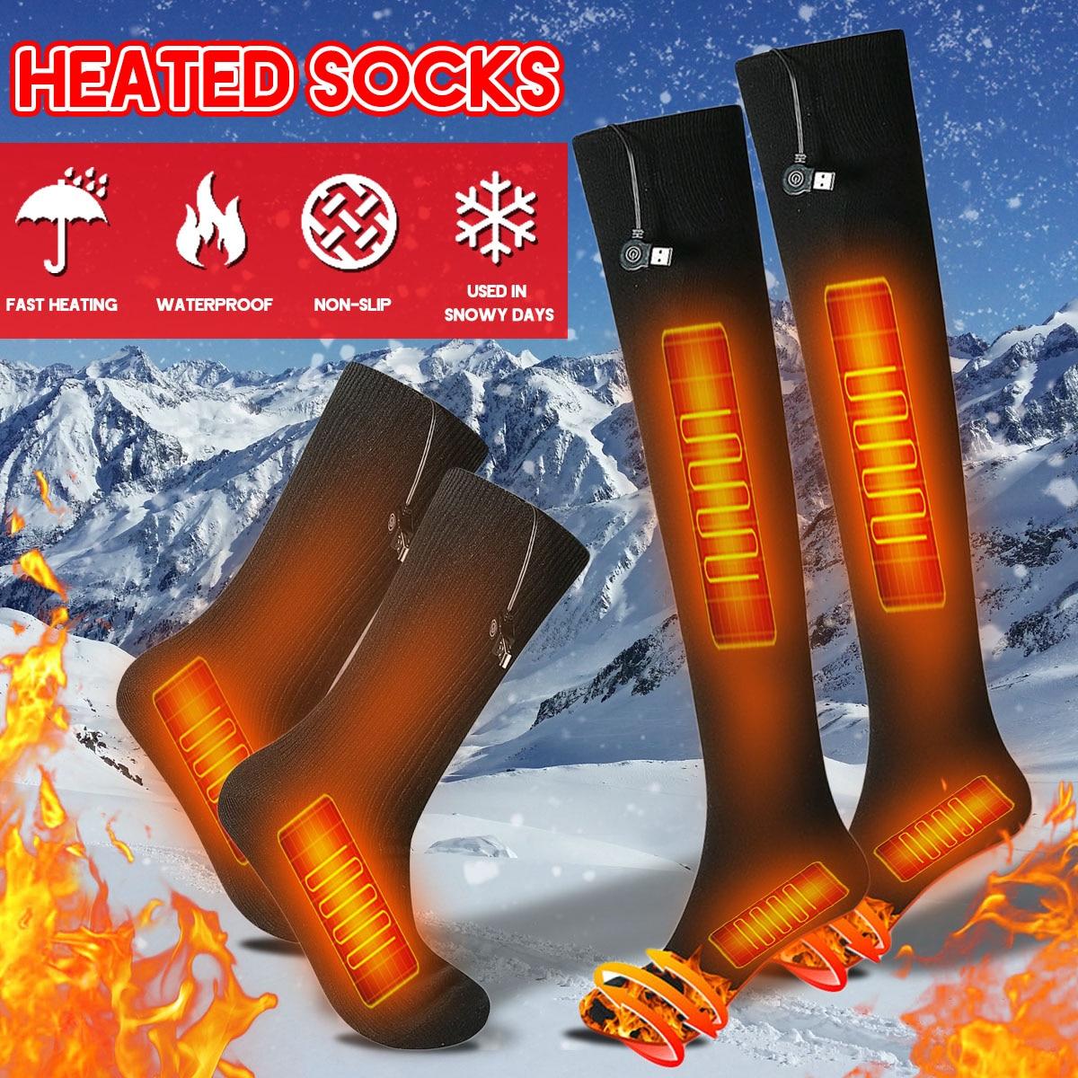 3-gear 38-70 grados USB recargable hombres mujeres inteligente calefacción eléctrica calcetines largos invierno cálido Kit de calcetines para pies fríos