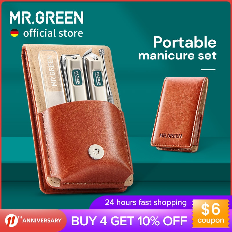 MR.GREEN Portable Manicure Set Pedicure kit Stainless Steel Nail Clippers Tool Travel Grooming Case Gift Box Nail Scissors set