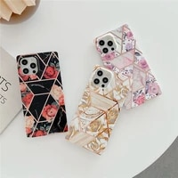 square electroplate splicing retro flower phone case for iphone 12 11 pro max xs x xr 7 8 plus silicone soft frame cover shell