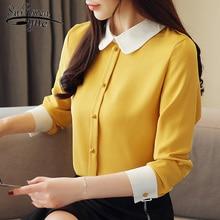 Mujer de moda 2020 das mulheres topos e blusas blusas blusa chiffon botão sólido turn-down collar plus size camisas femininas 1987 50