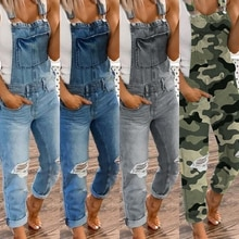Women Denim Bib Overalls Jeans Jumpsuits and Rompers Ladies Ripped Hole Casual Long Playsuit Pockets