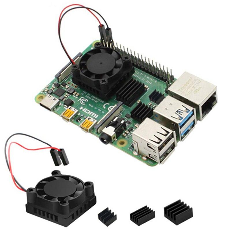 1/2 Dual Fan Square Cooling Fan With Heatsink Cooler Kit For Raspberry Pi 4B ( 4 Model B )