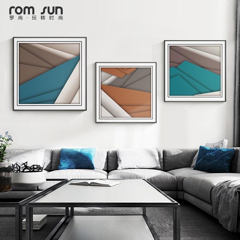 Abstracto Prologue azul nórdico geométrico lienzo Póster con impresión estilo cuadro pared moderna imágenes artísticas para sala de estar dormitorio hogar deco