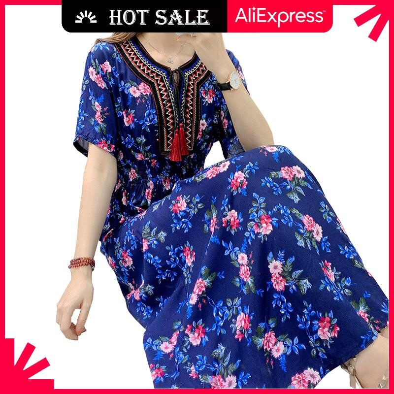 MOVOKAKA Floral Beach Dress Women 2021 Casual Vintage Plus Size Long Dresses Summer Tassel Prom High