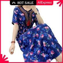 MOVOKAKA Floral Beach Dress Women 2021 Casual Vintage Plus Size Long Dresses Summer Tassel Prom High