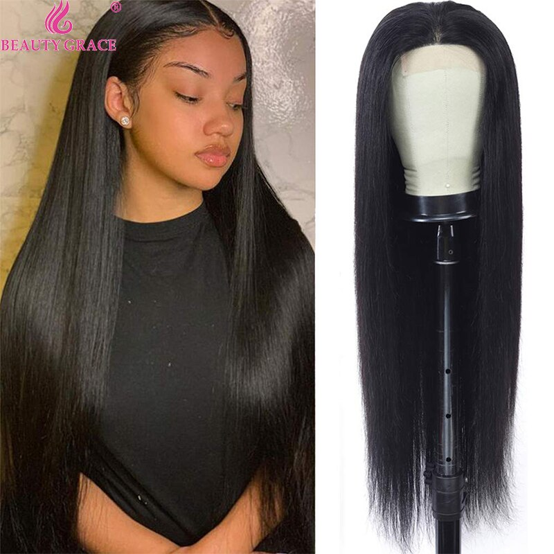 30 Inch Human Hair Wig Bone Straight Lace Front Wig 4X4 Lace Closure Wig Human Hair Lace Frontal Wigs Brazilian Hair Wigs