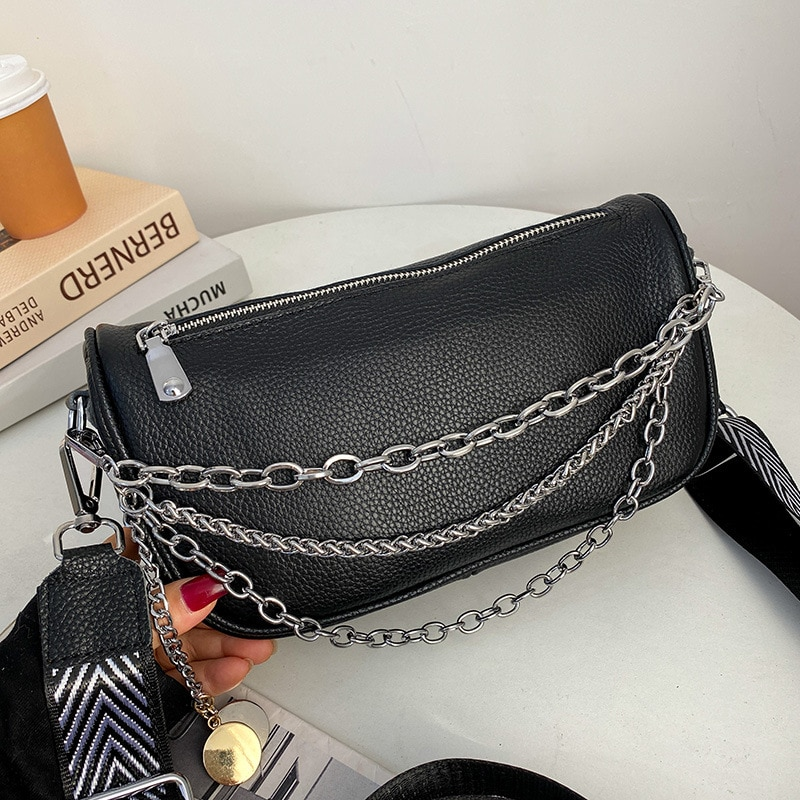 Advanced soft leather bag women's 2020 new fashion and atmosphere women's one shoulder slanting bag chain small square bag
