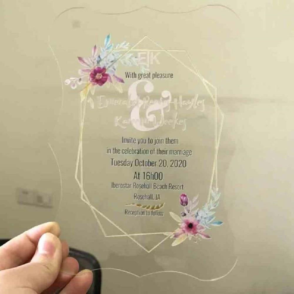 25 stücke Neue Custom Design Acryl Materialien Karte Hochzeit Menü karte Geburtstag Party dekoration Einladen karte hochzeit einladung karte