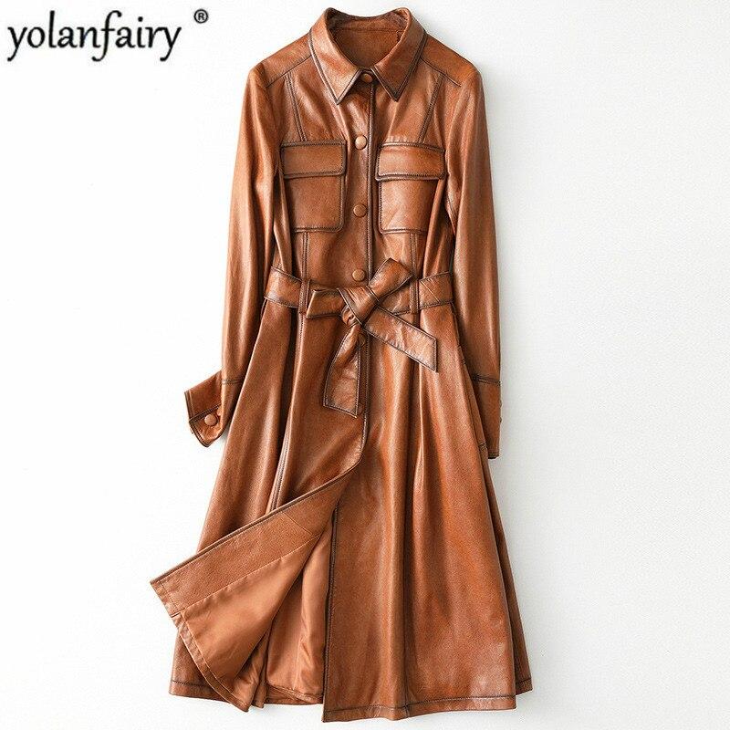 Primavera outono jaqueta de couro genuíno feminino coreano longo casaco de pele carneiro marrom feminino jaqueta de couro cuero genuino HQ19-LYJ9905A
