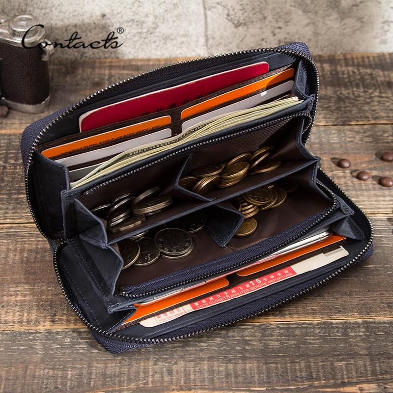 CONTACT'S الرجال محفظة جلد طبيعي مخلب محافظ الذكور محفظة نسائية للعملات المعدنية سعة كبيرة طويلة حقيبة المال جيب للهاتف حامل بطاقة