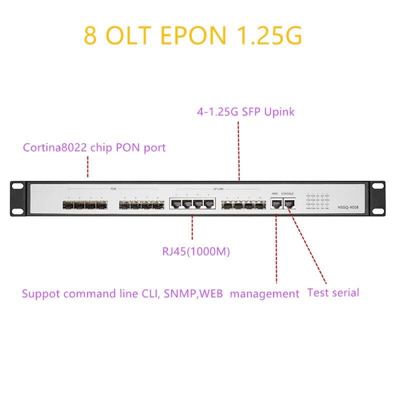 EPON OLT 8 PON port OLT GEPON 4 SFP 1.25G/10G SC WEB support L3 Router/Switch ، إدارة متعددة الأوضاع ، برنامج مفتوح ، 8 منافذ PON