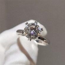 8MM rond Zircon Six broches ouverture réglable anneau 2ct blanc CZ pierre Engagement promesse anneaux pour les femmes de mariage bijoux de luxe